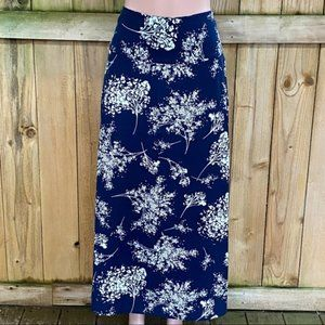 Banana Republic Navy Floral Maxi Skirt